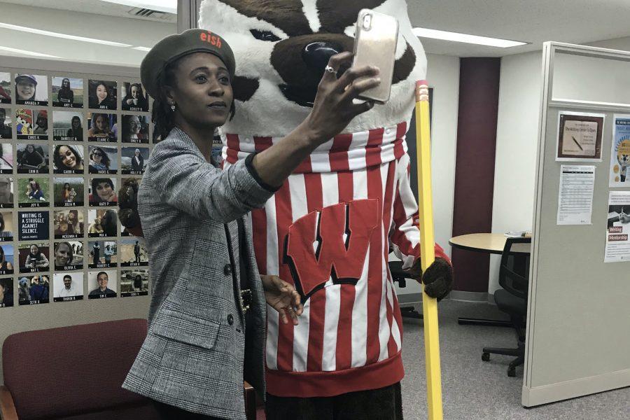 Professor Ainehi Edoro and Bucky Badger.