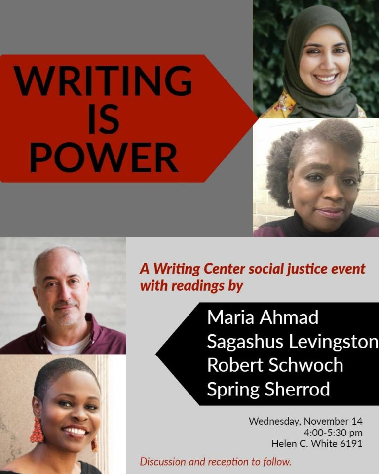 This is a poster for the Writing is Power panel that the Writing Center presented in 2018