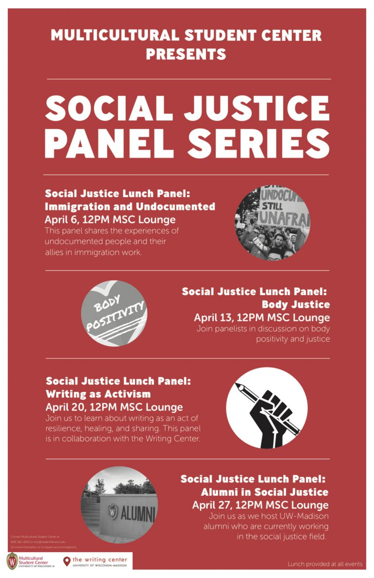 This is a poster for the Social Justice Panel Series presented by the Multicultural Student Center