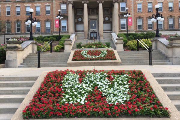 UW spelled in flowers outside Ag Hall
