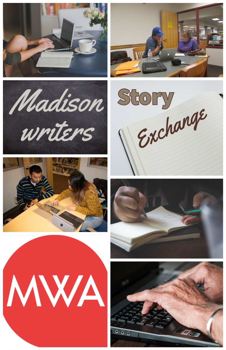 A collage of photos depicting hands typing on keyboards, writing with pen and paper, and talking together at a table.