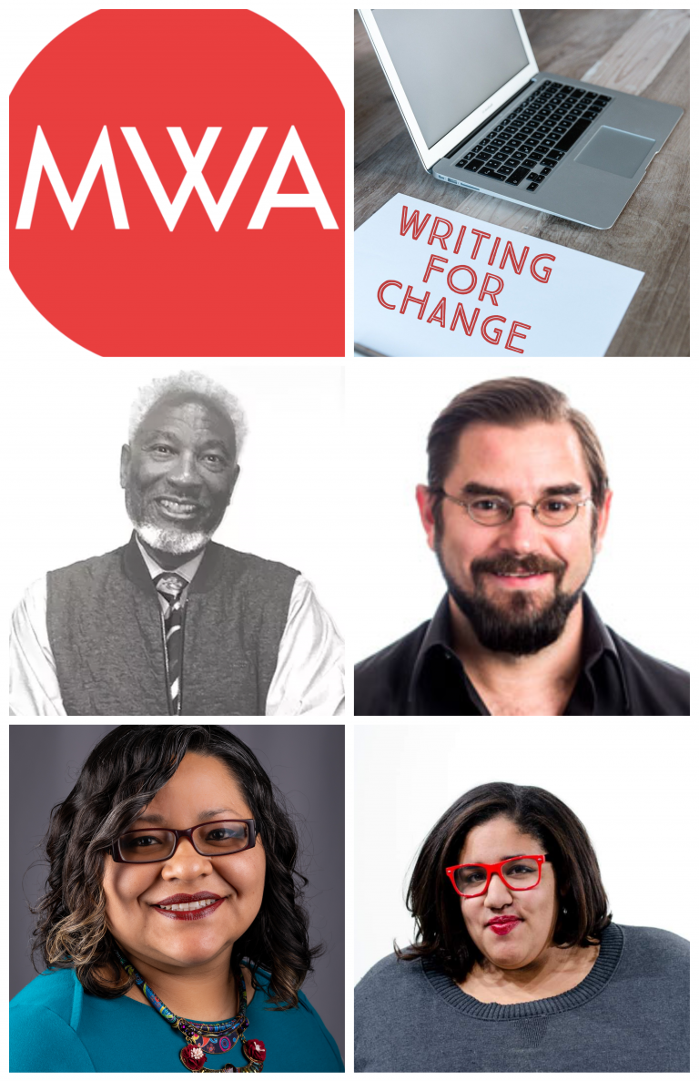"""A collage of photos with the text """"Writing for Change."""" Photos depict featured speakers Robert Wynn, Marisol Gonzalez, Kevin Mullen, and Liz Boyd."""