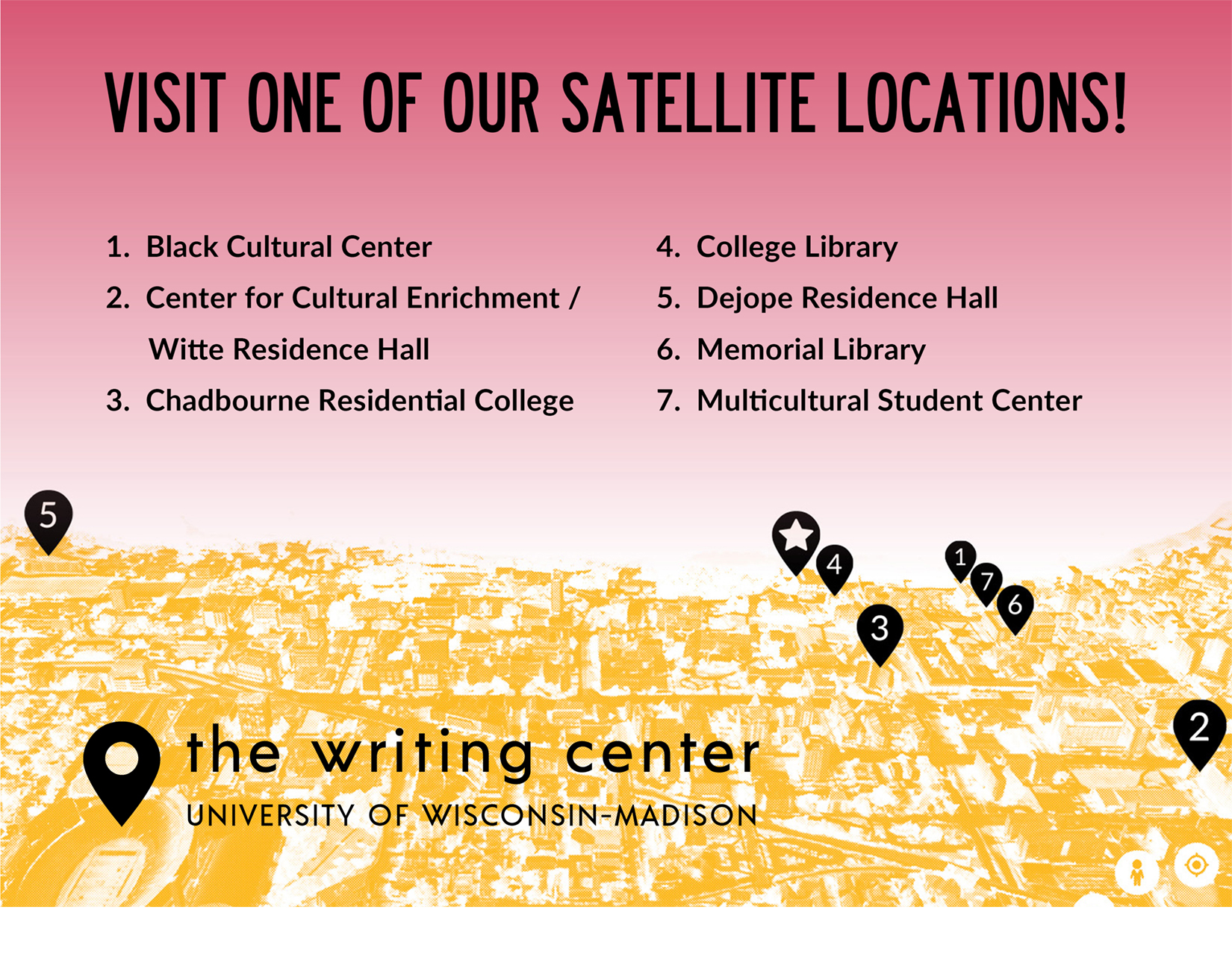 Image shows an altered photograph of campus with numbered teardrops pointing out the location of each Writing Center satellite